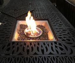 Fire pit propane bar table set 7 piece outdoor cast aluminum Palm Tree bar stool image 5