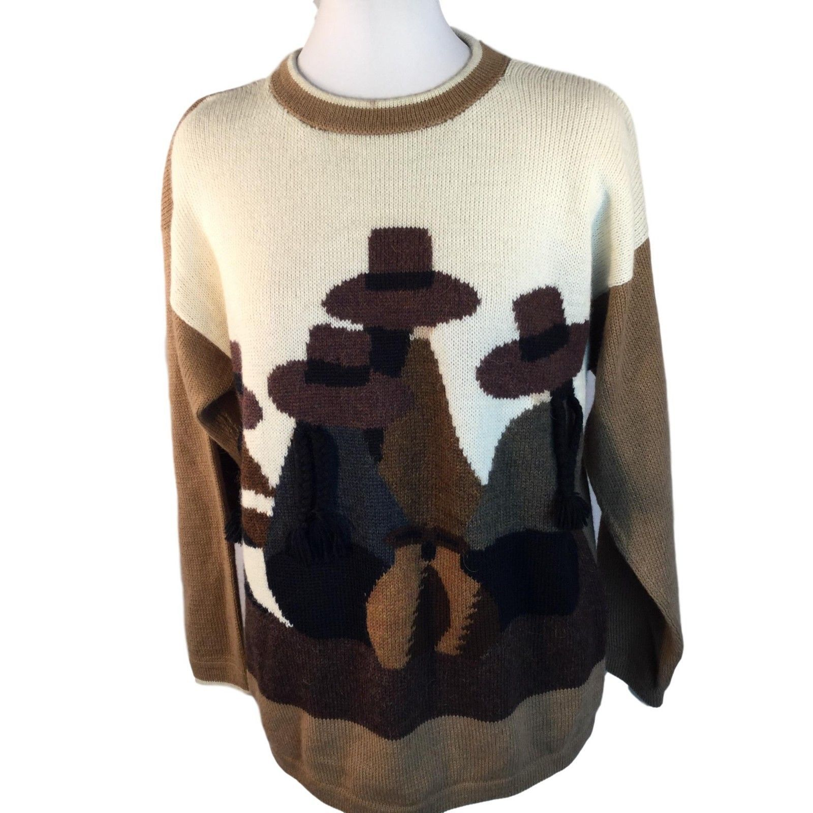 Primary image for Alpaca Sweater Natives with Braids Peru Crop Sweater