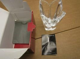 "Orrefors Lotus Lars Hellsten Full Lead Crystal Vase 5 1/2"" X 4 1/2"" Mint / Box - $49.45"