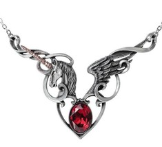 The Maiden's Conquest Unicorn Winged Heart Necklace Pendant Alchemy Gothic P836 - $74.95