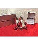Brian Atwood Red Satin High Heel Open Toe Dress Shoe Italy 38 US 8 - $150.00