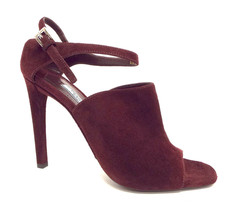New PRADA Size 9 Burgundy Suede Open Toe Ankle Strap Heels Sandals Shoes 40 image 2