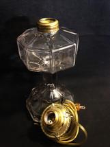 "Octagon Pressed Glass OCTAVIA Oil Kerosene Lamp 8 Sided Clear 10"" c1900 ... - $47.95"
