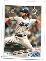 2017 Topps NOW MLB Clayton Kershaw 2nd Fastest Player to Earn 2,000 Ks C... - $8.59