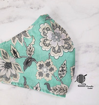 Face Mask Aqua Teal Floral Gray Cotton Cloth Facemask Cover Women Handma... - $11.75