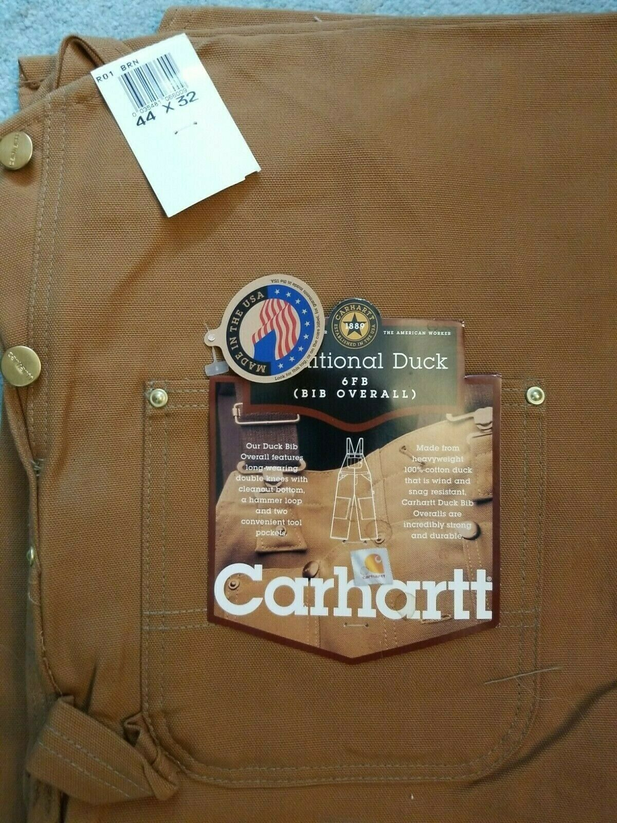 Carhartt Traditional Duck 6FB Bib Overall Unlined 44x32 Made in the USA
