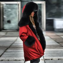 Women Winter Warm Thick Fur Long Sleeve Hoodie Over Coat image 4
