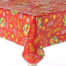 Thanksgiving Harvest Turkey Vinyl Tablecloth 52 x 70 Oblong (Rectangle) - $22.47