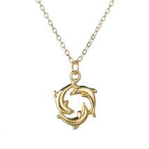 Women's Cross Dolphin Drop Necklace For Female Moon Key Five-pointed Star Girls  - $9.94
