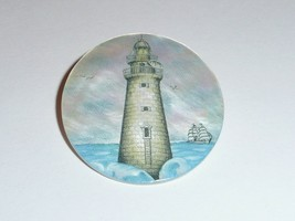White Brick Lighthouse w/ Sailboats on MOP - Mother Pearl Shank Button 1... - $11.99