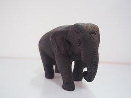 ELEPHANT BLACK WOOD CRAFTING HANDMADE SMALL FOR HOME DECOR - $32.18