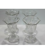 Libbey Parfait Ice Cream Sunday Glasses Tulip Footed Set of 4 - $11.69