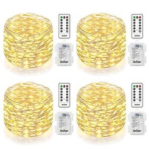 Homestarry 4 Pack Fairy String Lights Battery Operated Waterproof 8 Mode... - $20.63