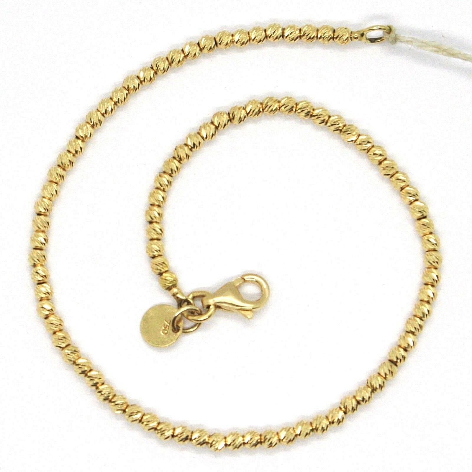 18K YELLOW GOLD BRACELET, 18 CM, FINELY WORKED SPHERES, 2 MM DIAMOND CUT BALLS