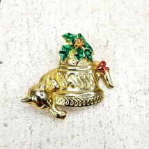 Vintage Kitty Cat Christmas Bell Holly Berry Goldtone Pin Brooch Red Green - $11.63