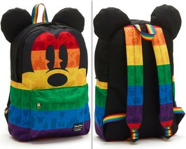 Loungefly Rainbow Disney Collection Mickey Mouse Canvas Backpack, Black/... - $52.20