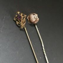 Vintage Lot of Gold-filled Dainty Amethyst Purple Rhinestone & Carved Ca... - $14.89