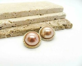 Vintage Signed Japan Mauve Pink Dome Gold Aluminum Clip On Earrings RR50 - $13.99