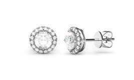 14K White Gold Plated Stud Earrings Made with Swarovski Elements - $12.73