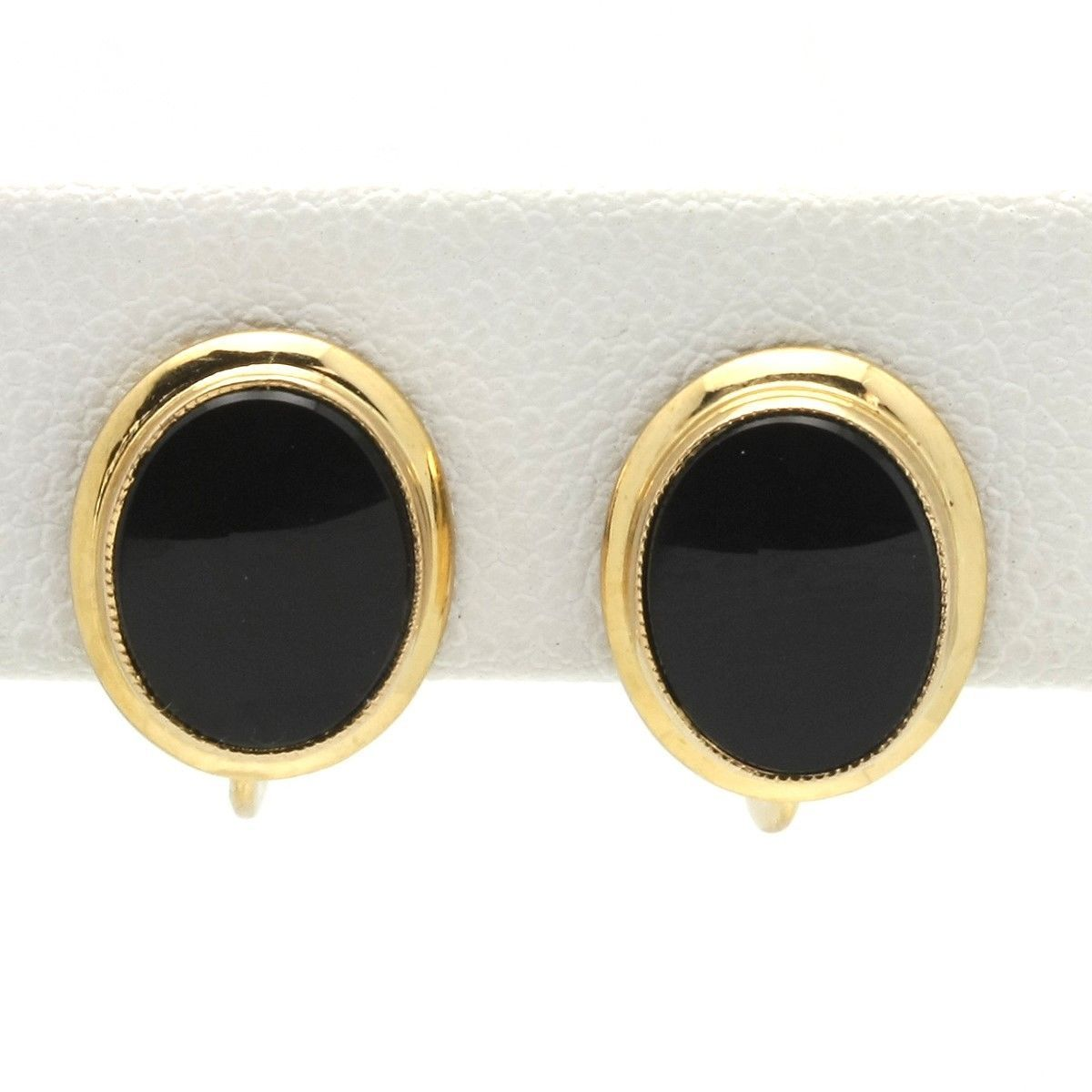 Vintage 10K Gold Black Onyx Screwback Earrings Budlong Docherty & Armstrong
