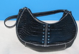 WOMAN'S SMALL BLACK PURSE SHOULDER BAG HANDBAG BY NINE WEST ZIPPER POCKE... - $14.36