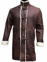 Mens King Arthur Legends Sword Charlie Hunnam Fur Shearling Brown Leather Coat image 1