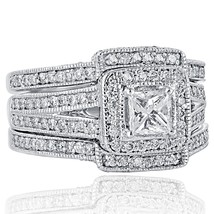 2.26 Ct Princess Cut Diamond Engagement Ring Wedding Bands Set 14K White... - £3,245.29 GBP