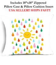 "18x18 18"" HAPPY SUN SHOWER SUNSHINE RAINBOW Zippered Throw Pillow Cushio... - $19.99"