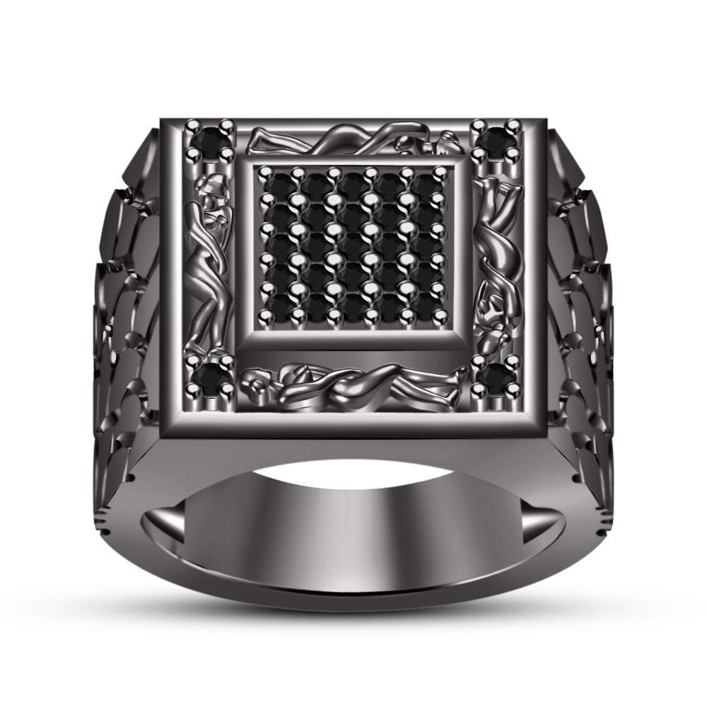 Primary image for Round Simulated Diamond 925 Silver Black Gold Finish Kama Sutra Ring Free Shipp