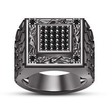 Round Simulated Diamond 925 Silver Black Gold Finish Kama Sutra Ring Free Shipp - $138.90