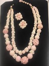 Vintage Pink Popcorn Double Strand Bead Necklace Clip Earring Set Japan ... - $33.78