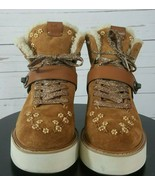 Coach Saddle Natural Urban Hiker Beads Shearling-Lined Suede Wedge G1374... - $179.99