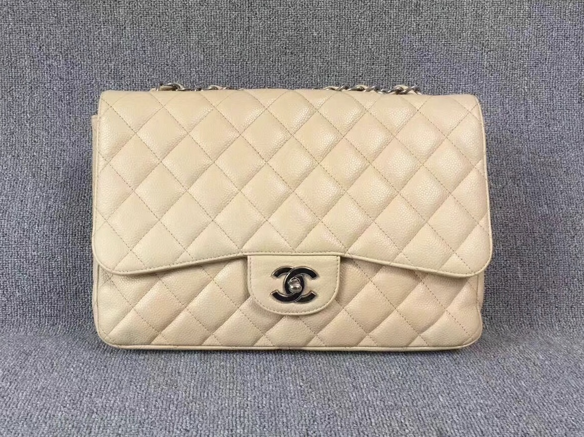 AUTHENTIC CHANEL BEIGE CAVIAR QUILTED JUMBO CLASSIC FLAP BAG SILVER HARDWARE