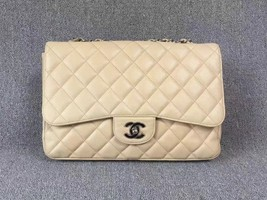 AUTHENTIC CHANEL BEIGE CAVIAR QUILTED JUMBO CLASSIC FLAP BAG SILVER HARDWARE image 1