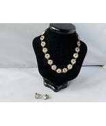 Vintage Fashion Jewelry Set Necklace Earrings Silver Tone Crystal Choker - $27.89
