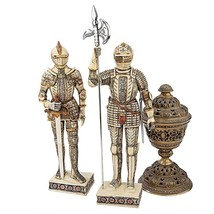 Knights of the Realm Statues Set of 2 Home Decor Tabletop Medieval Halbe... - $116.81