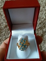 10k Solid gold genuine Diamond and blue topaz estate ring Excellent cond... - $189.99