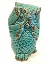 "See No Evil Owl Ceramic Figurine 6-1/2"" Teal Blue Owl Replacement - $9.99"