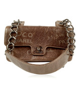 Authentic Chanel Brown Distressed Leather Graffiti Mademoiselle Shoulder... - $2,920.50