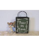 Metal angel flower holder, tin angel holder, peace on earth angel, tin a... - $17.50