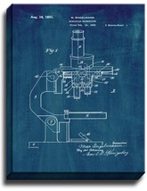 Binocular Microscope Patent Print Midnight Blue on Canvas - $39.95+