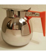 Vintage Deluxe Stainless Coffee Decanter Orange Silver 1950 - $25.00