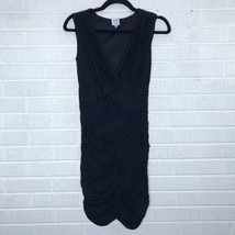 Halston Heritage Small S Ruched Vneck Cocktail Dress Black Tight Fit - $72.65