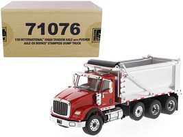 International HX620 Tandem Axle with Pusher Axle OX Stampede Dump Truck Red  - $72.26