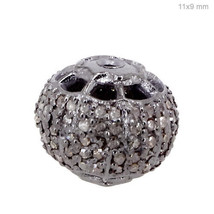 Fine 925 Sterling Silver 0.55 Ct Diamond Pave Spacer Bead Finding Jewelr... - $153.96
