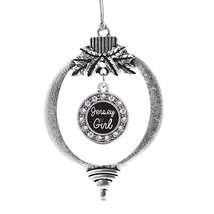 Inspired Silver Jersey Girl Circle Holiday Decoration Christmas Tree Orn... - $14.69