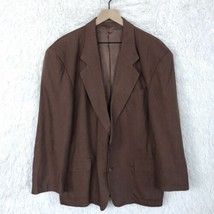 Hugo Boss Gabin Linen Sport Coat Jacket Brown Two Buttons Vintage Mens S... - $58.40