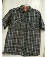 Boardwalk Button Down Short Sleeve Shirt Gray Green Plaid Size M Polyester - $17.81