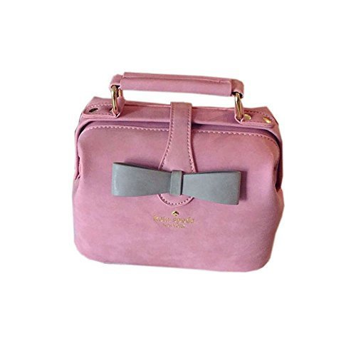 Adorable Pink Frosted Leather Clutch Bow Knot Clutch Bag