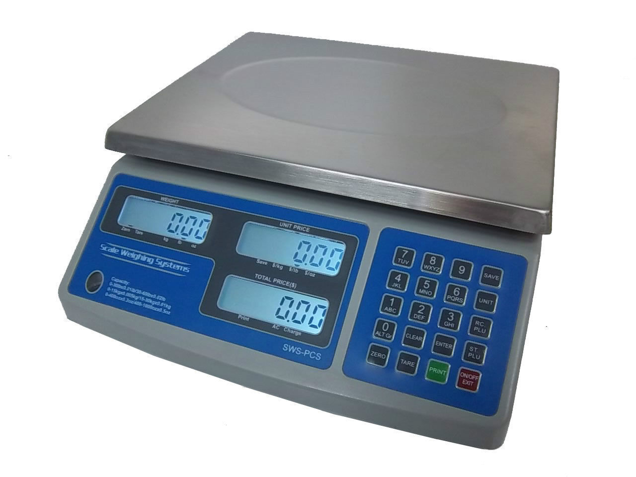 SWS-PCS-60 lb Price Computing Scale-lbs,kgs,oz Barcode Printer Thermal Label